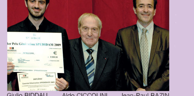 Giulio BIDDAU Lauréat, Aldo CICCOLINI Président du jury, Jean-Paul BAZIN Président de la SPEDIDAM ©Hervé MAZAURY